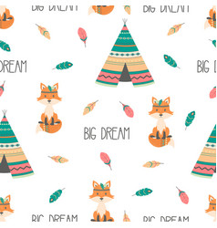 tribal seamless pattern with fox vector image