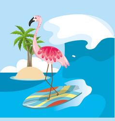 Tropical beach scenery theme cartoon vector