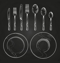 vintage knife fork spoon and dishes in sketch vector image