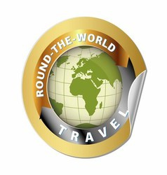 World Travel Round Globe Label vector image