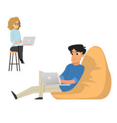 young man and woman freelancers working with lapto vector image