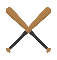 baseball crossed bats wooden design vector image vector image