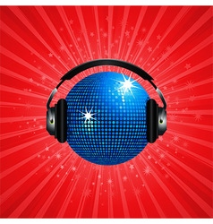 Blue disco ball and headphone on red background vector image