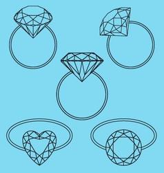 diamond rings set vector image