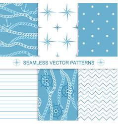 Set of sea and nautical backgrounds in blue and vector image vector image