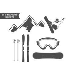 Winter sports elements snowboard ski symbols vector