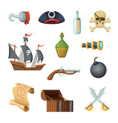 different icon set of pirate theme skull vector image
