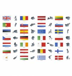 European union flags with maps vector image