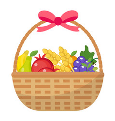 fruit basket icon flat cartoon style jewish vector image