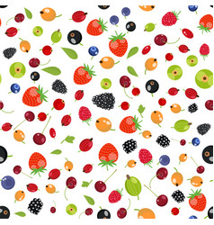 fresh berry fruit seamless pattern vector image