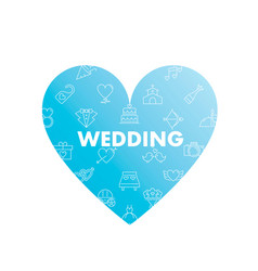 line icons in heart shape wedding vector image
