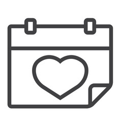 lovely calendar line icon valentines day vector image vector image