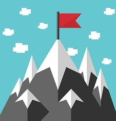 Mountains and red flag vector image vector image