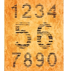 Number set from black coal texture vector image vector image