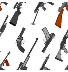 pattern of guns machine gun rifle revolver pistol vector image vector image