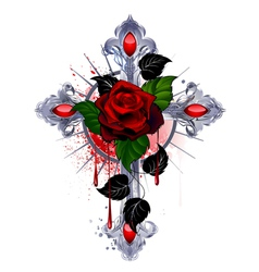 Cross with a red rose vector image vector image