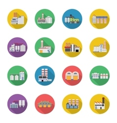 Flat industrial buildings and factories vector image vector image