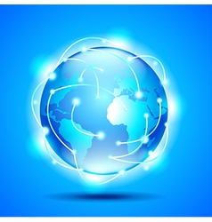 Glowing earth globe on blue background vector image vector image