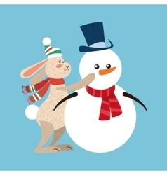 Rabbit and snowman cartoon of christmas design vector