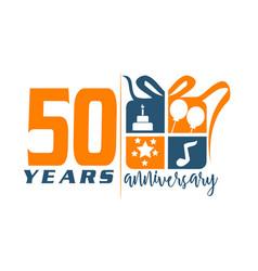 50 year gift box ribbon anniversa vector