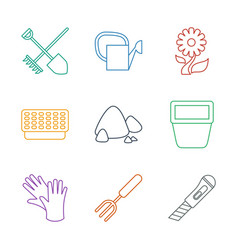 9 gardening icons vector image