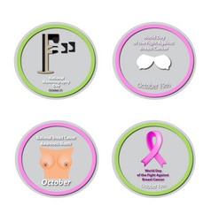 a set of badges for world breast cancer day pink vector image