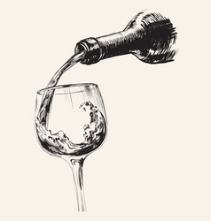 a stream wine bottle and glass hand drawn vector image
