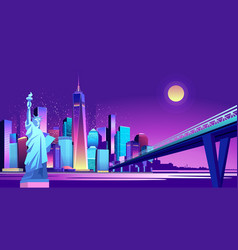 Abstract neon city vector