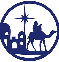 Adoration of the Magi silhouette icon blue white vector image