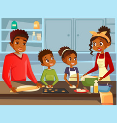 Afro american black family cooking together at vector