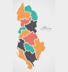 Albania map with states and modern round shapes vector