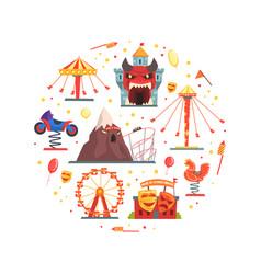 amusement park elements circular shape festive vector image