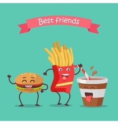 Best Friends Haburger Fries and Soda Dancing vector