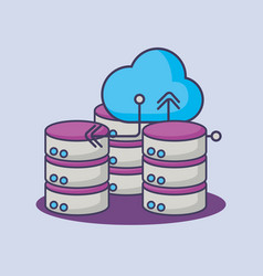 big data cloud computing database server vector image