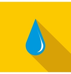 Blue shiny water drop icon flat style vector image