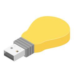 bulb usb flash icon isometric style vector image