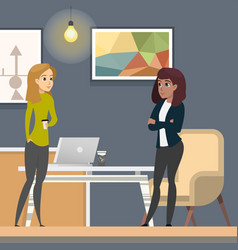 business women working in co-wotking as freelancer vector image