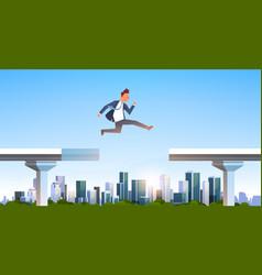 Businessman jumping over gap broken bridge abyss vector