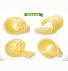 butter curl 3d realistic icon vector image