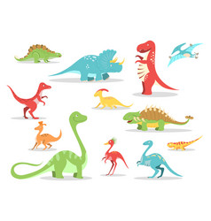 cartoon style dinosaurs collection vector image