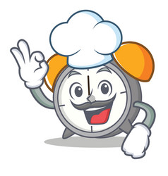 chef alarm clock character cartoon vector image