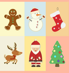 christmas and new year attributes and symbols vector image
