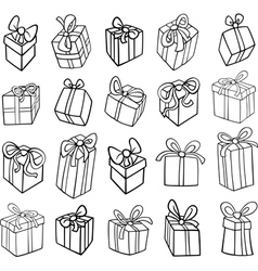 christmas or birthday gifts coloring page vector image