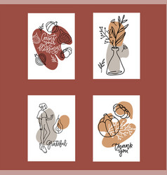 collection 4 autumn poster templates greeting vector image