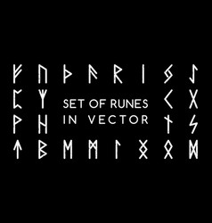 collection ancient runes on a black background vector image
