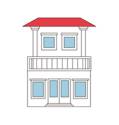color sections silhouette of house with two floors vector image