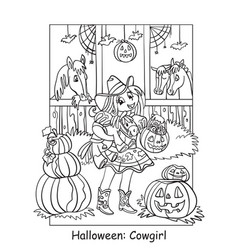 coloring halloween cute cowgirl in stable vector image
