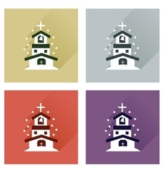 Concept of flat icons with long shadow Catholic vector