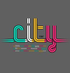 continuous line font colorful alphabet vector image