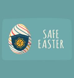 coronavirus easter egg card with easter egg vector image